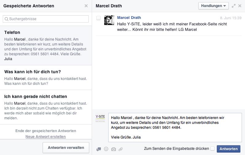 Tutorial Facebook-Nachrichten Antworten speichern - Hinzufügen