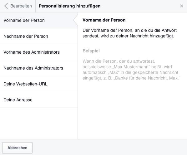 Tutorial Facebook-Nachrichten Antworten speichern - Personalisieren 1