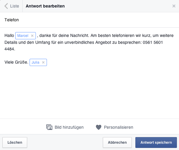 Tutorial Facebook-Nachrichten Antworten speichern - Personalisieren 2