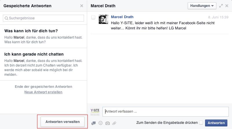 Tutorial Facebook-Nachrichten Antworten speichern - verwalten